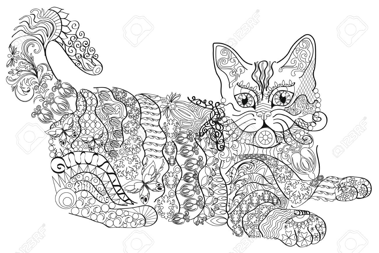 Coloring book anti stress. Cat. Color therapy.