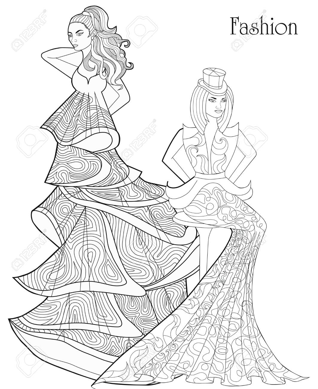 Color Therapy Fashion Anti Stress Coloring Book A Pair Of Girls In