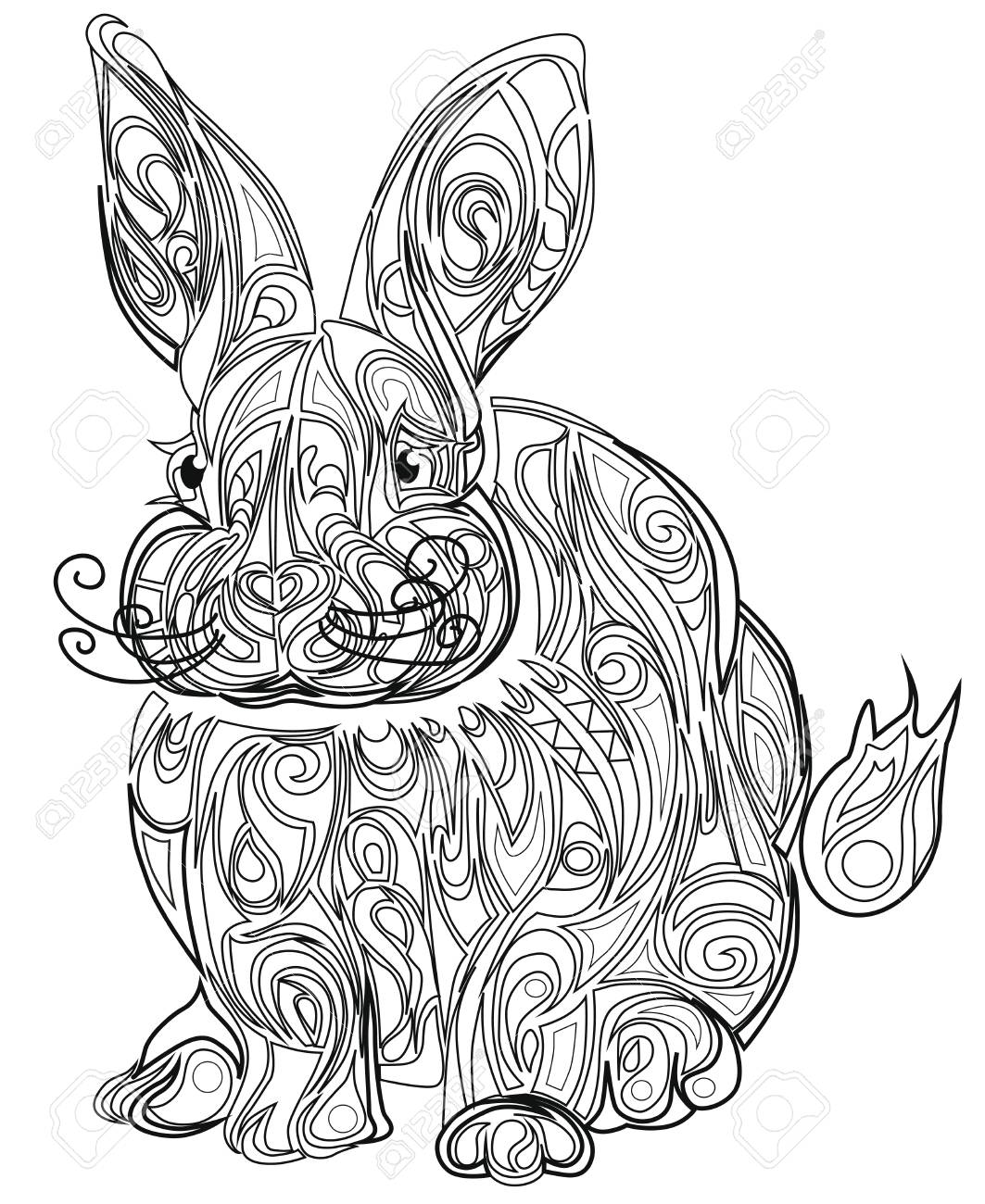 - Color Therapy: An Anti-Stress Coloring Book Hare. Royalty Free