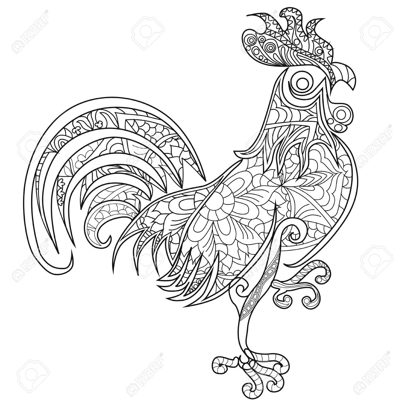 - Color Therapy: An Anti-Stress Coloring Book. Rooster. Royalty Free