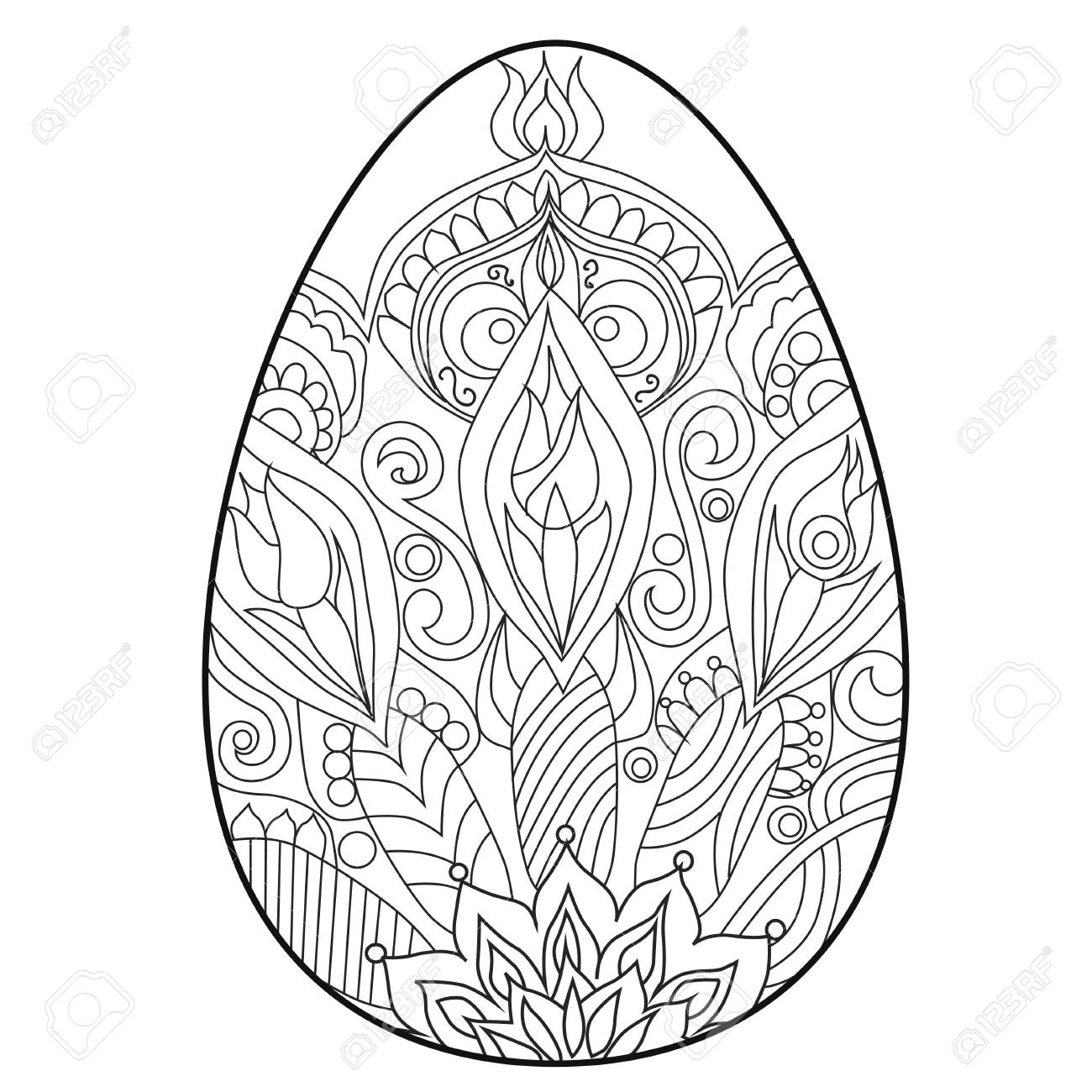 - Coloring Book Anti Stress .Egg. Easter. Color Therapy. Royalty