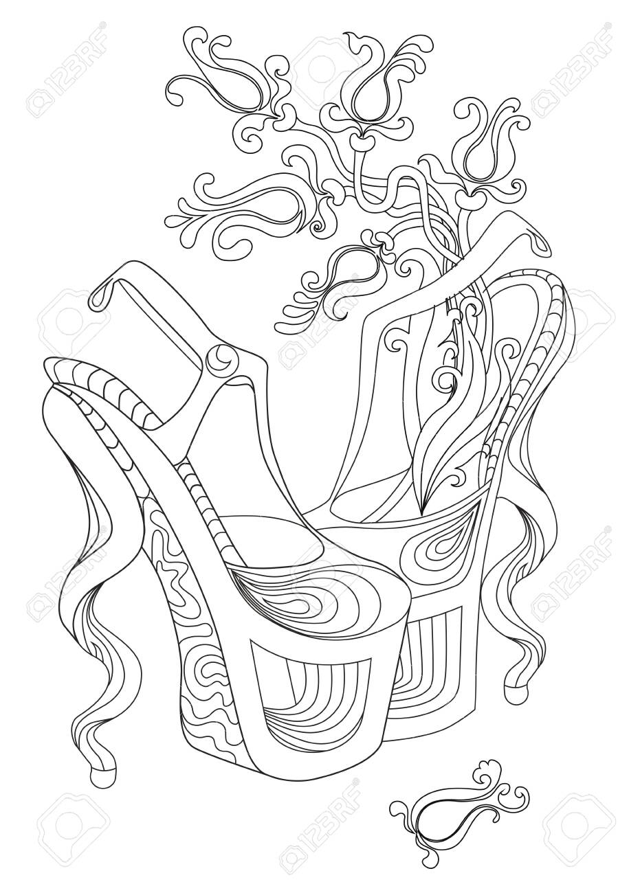Pair of shoes witch flowers. Coloring books for adults. Standard..