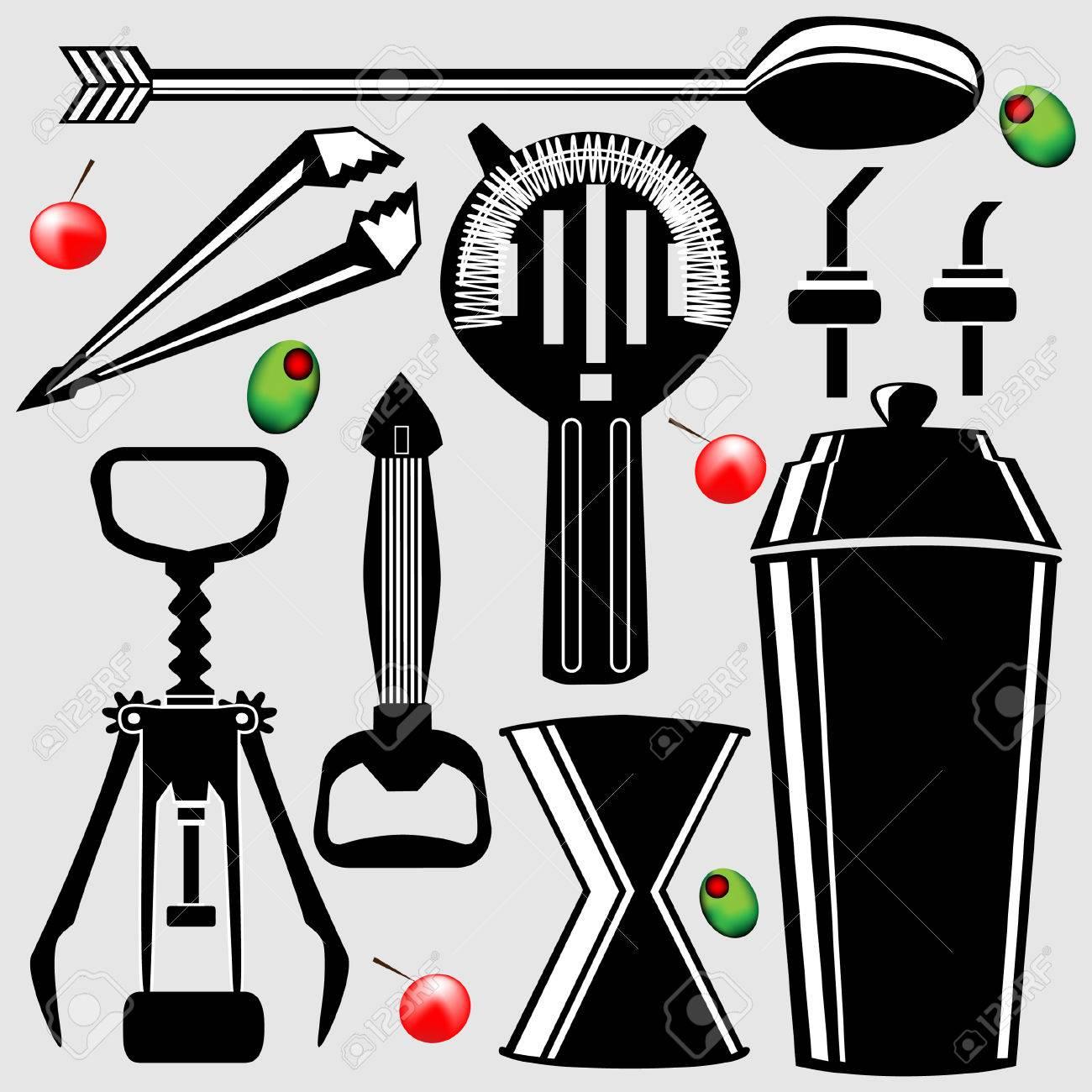 Bartending Tools In Vector Silhouette - Corkscrew, Shaker ...