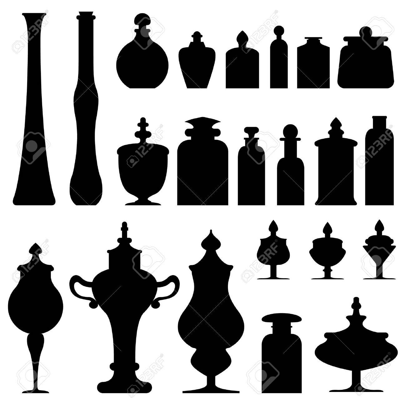Antique vases, bottles, urns and jars from an apothecary, herbalist, or tea shop - vector silhouette set Stock Vector - 4695131