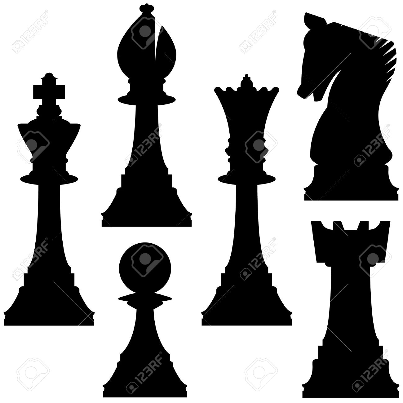 Chess Pieces In Vector Silhouette Including King Queen Rook