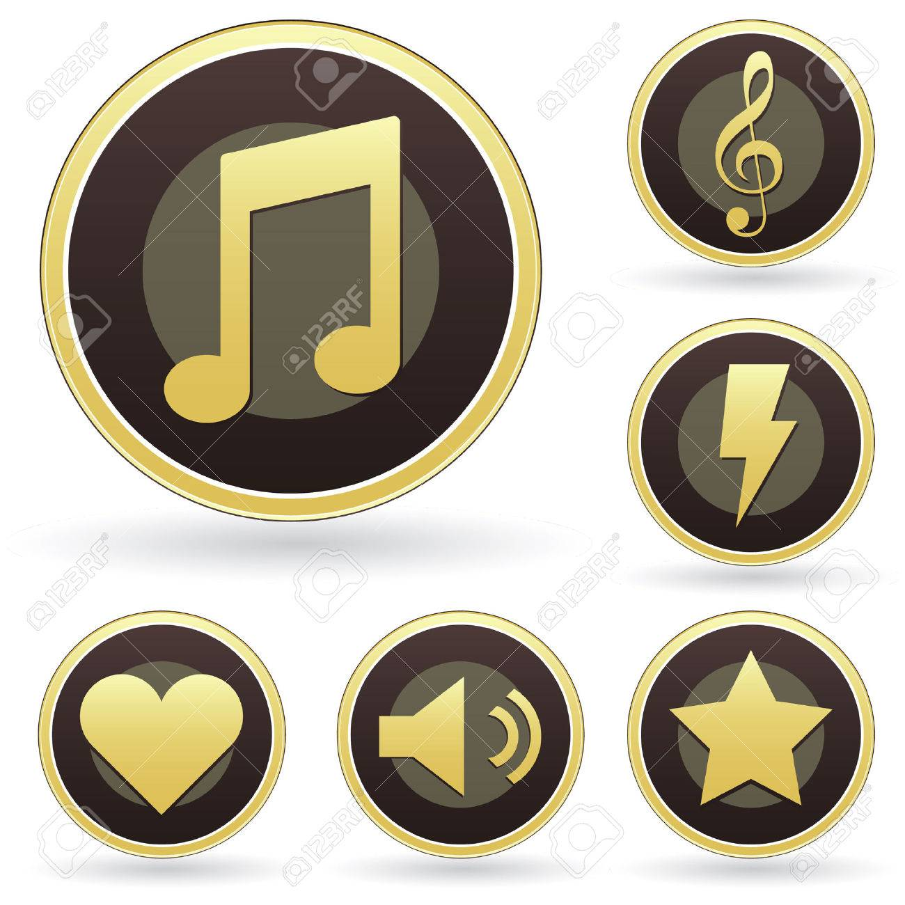 Music appreciation icons on vector button set Stock Vector - 4695141