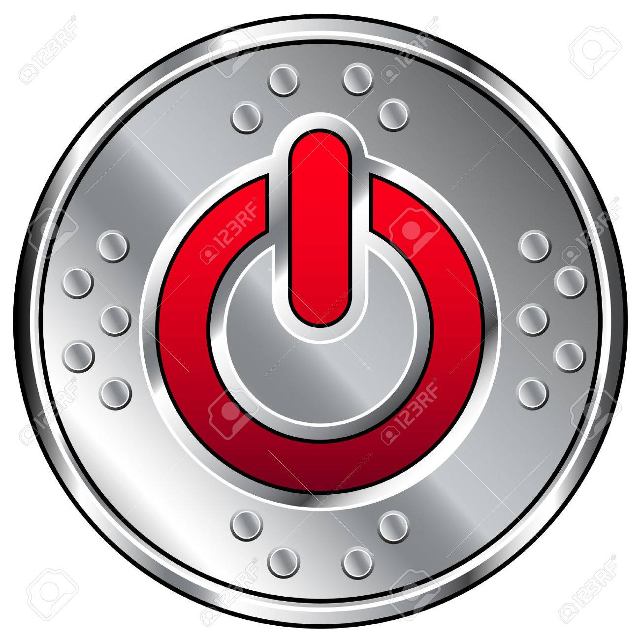 Vector illustration of shiny industrial button with red computer power icon Stock Vector - 4695186