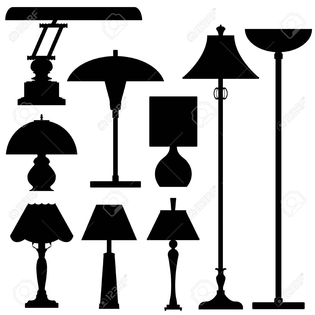 Vector silhouette set of lamps and lighting Stock Vector - 4695130