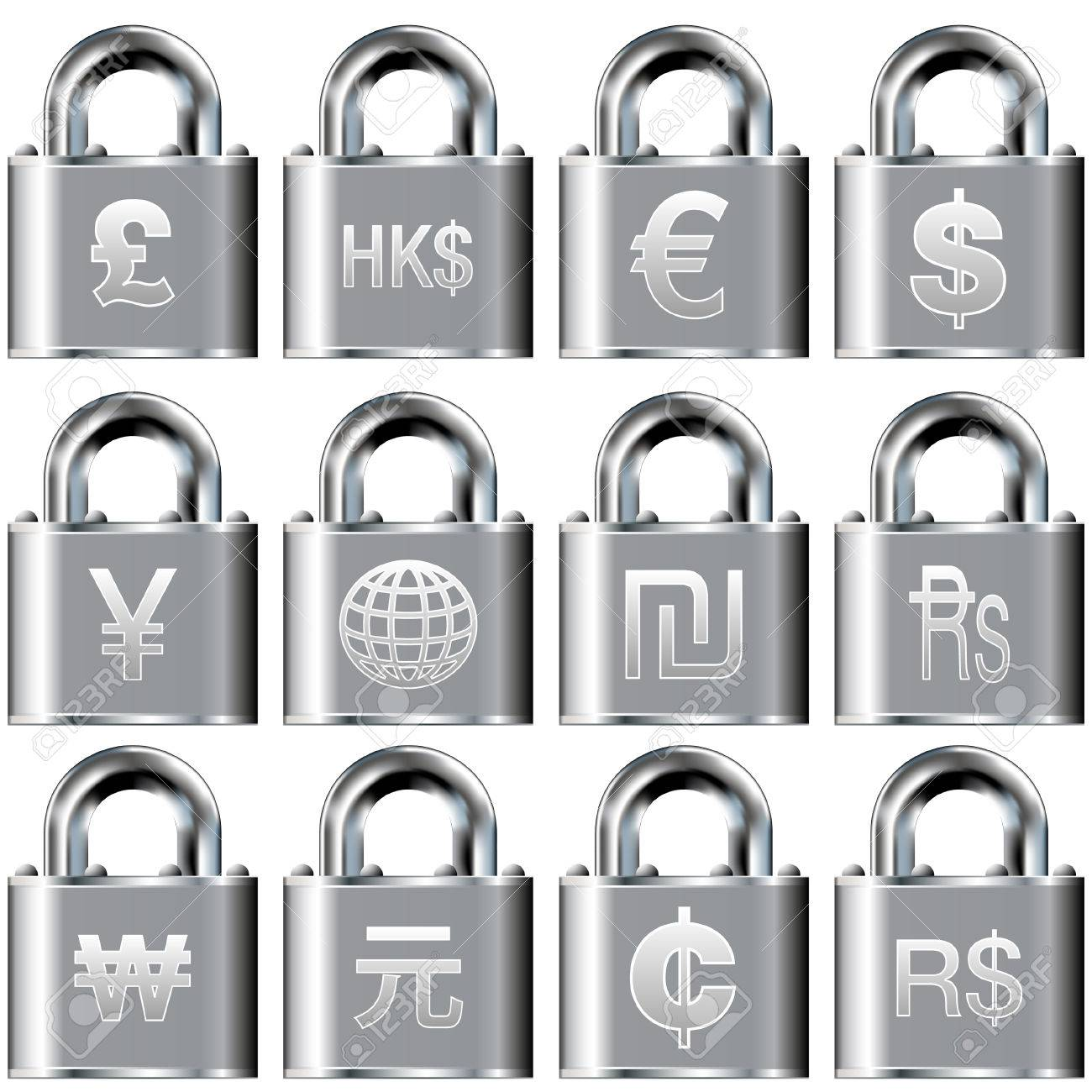 International currency symbol icons on security padlock buttons Stock Vector - 4695260