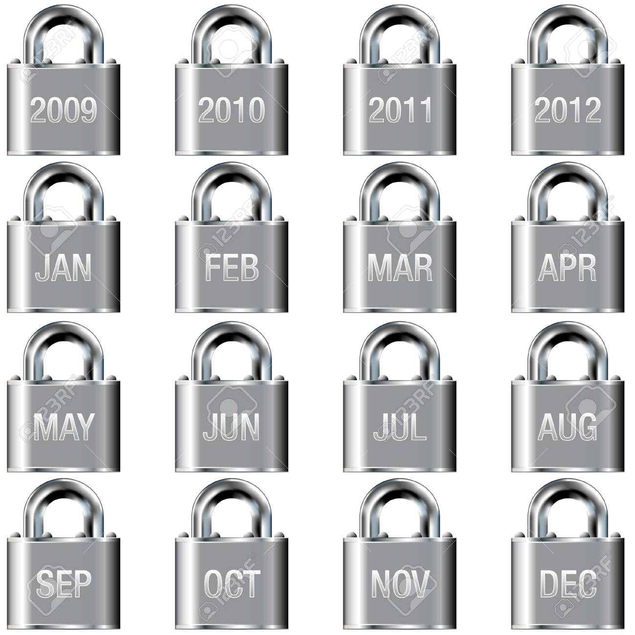 Month and year calendar icons on secure padlock vector buttons Stock Vector - 4695265