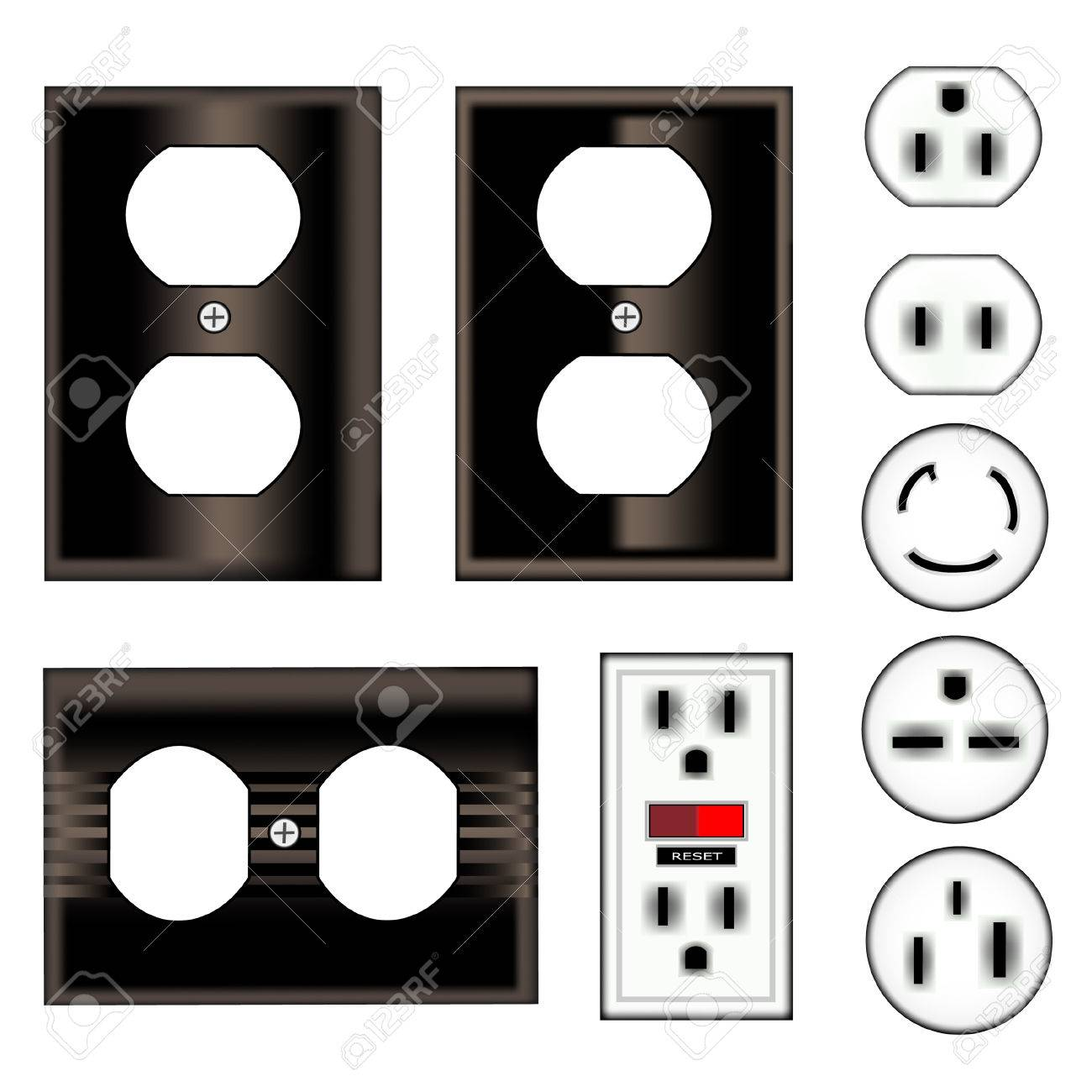 Electrical Outlets And Faceplates In Shiny Black Vector Set