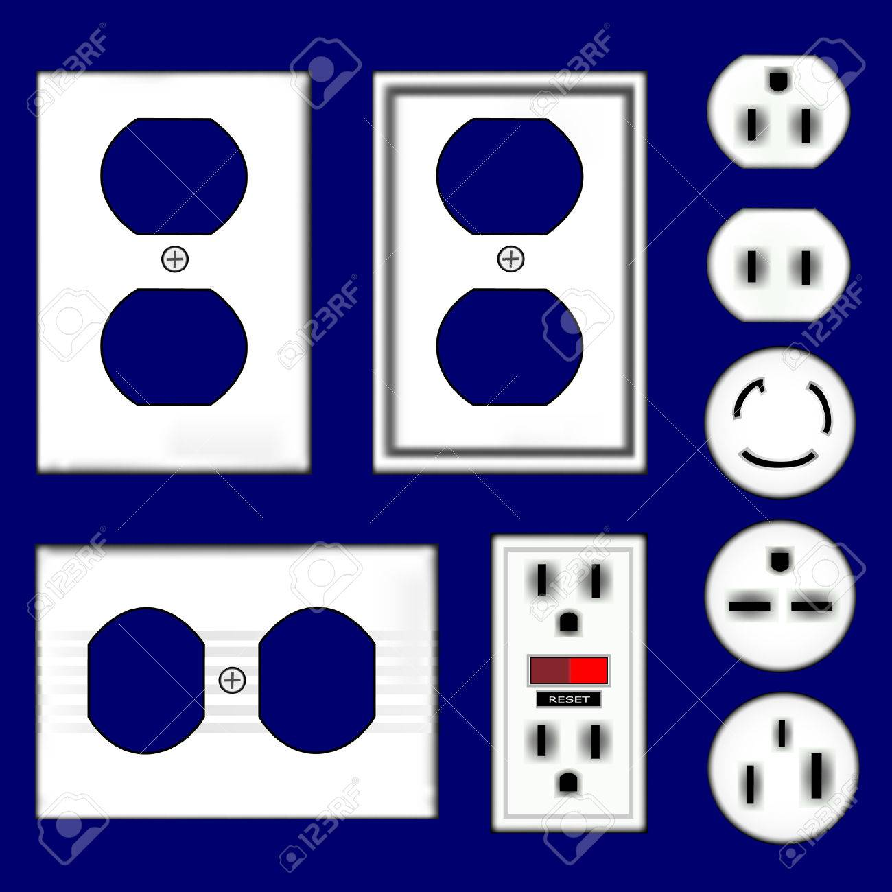 Electrical Outlets And Faceplates In Shiny White Plastic Vector