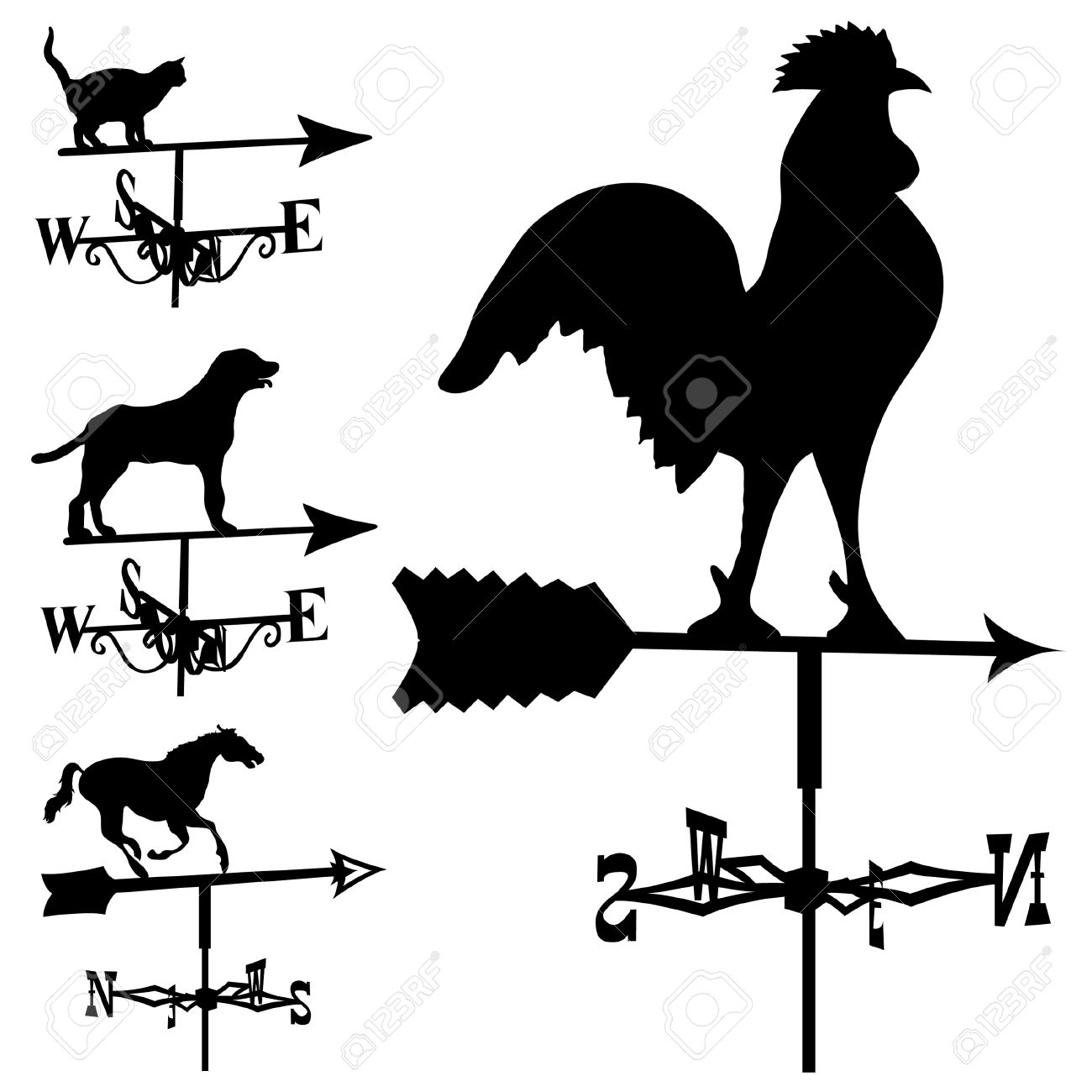 Weathervanes and lightning rods in vector silhouette Stock Vector - 5018769