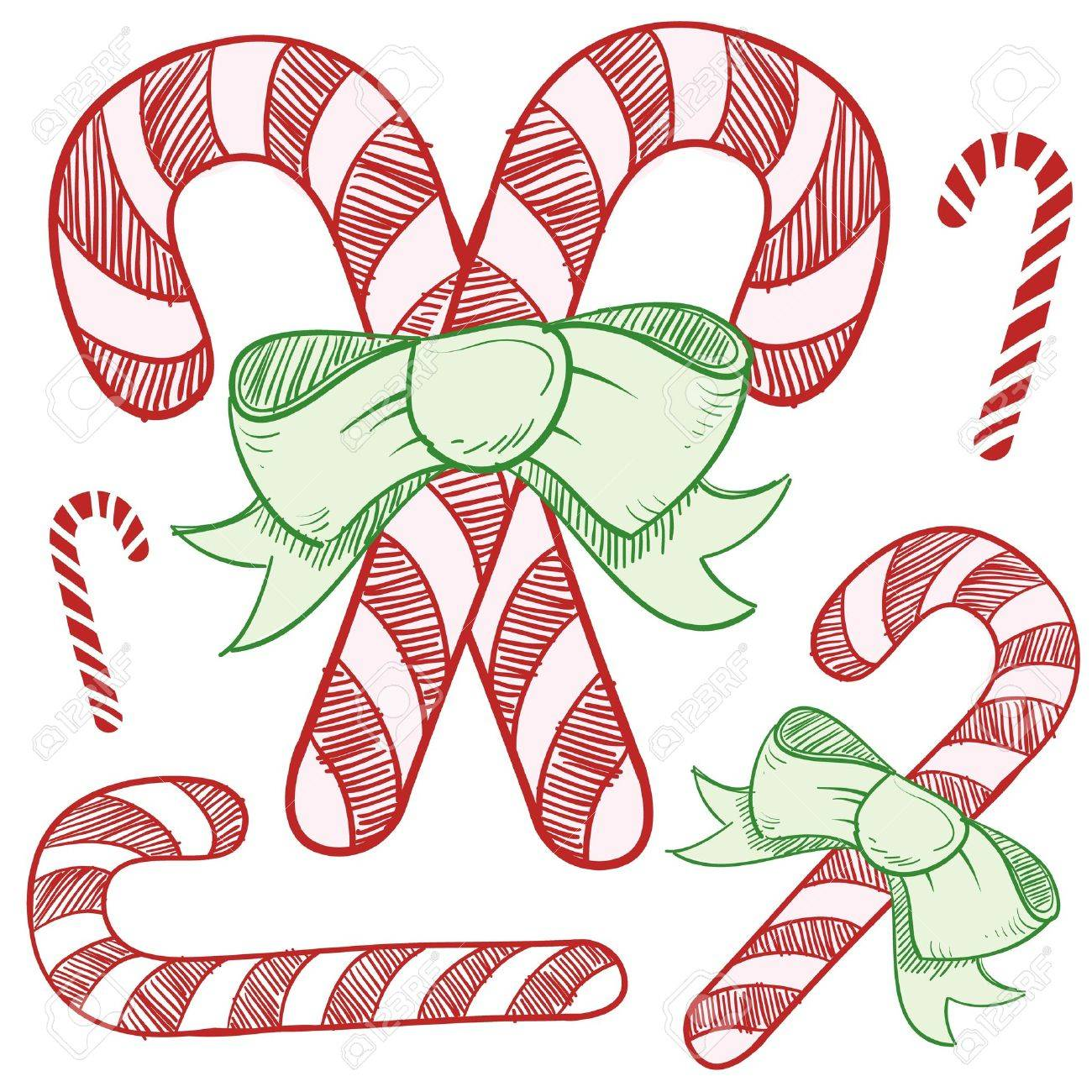 Doodle Style Candy Cane Vector Illustration Ilustraciones ...