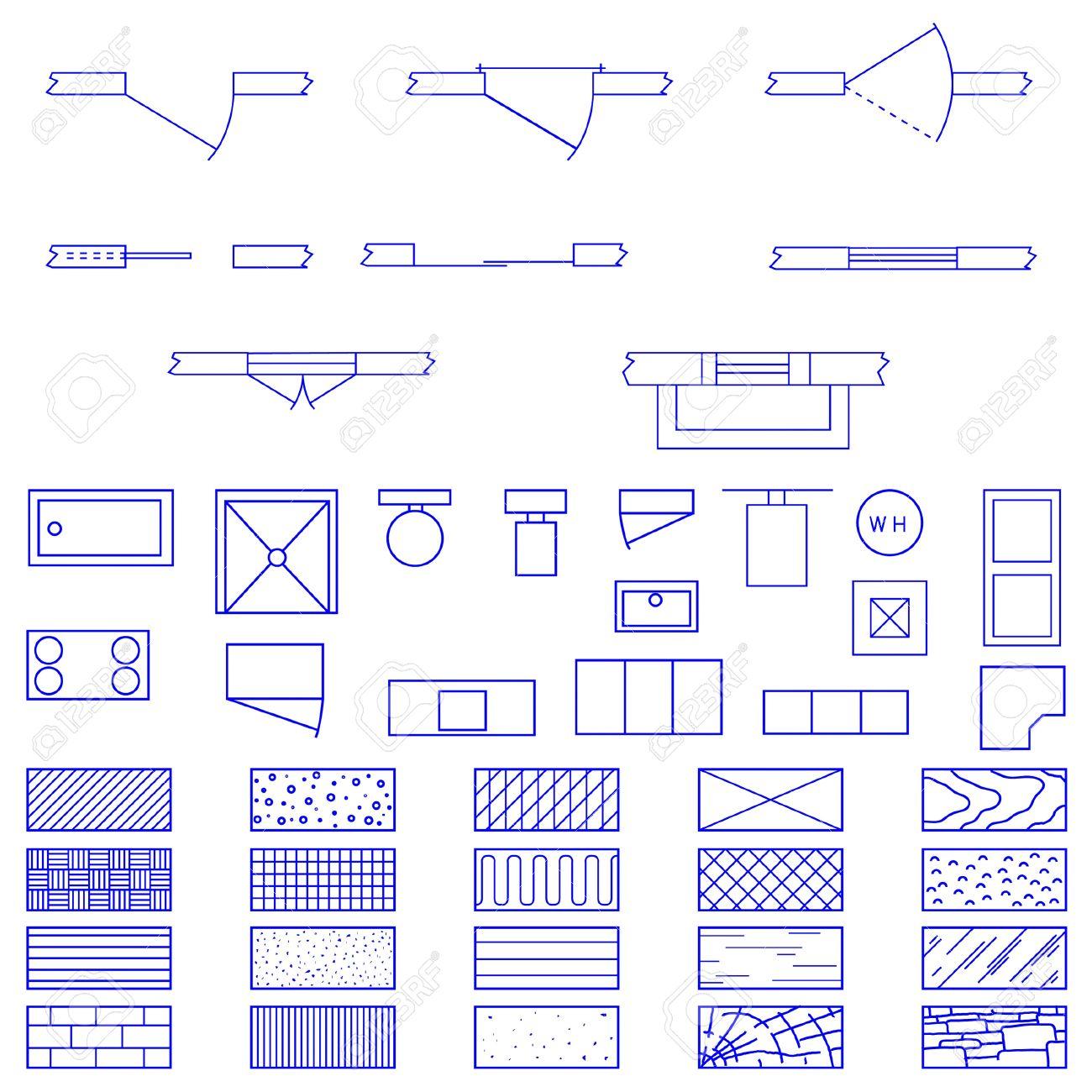 complete set of blueprint icons and symbols usedarchitects