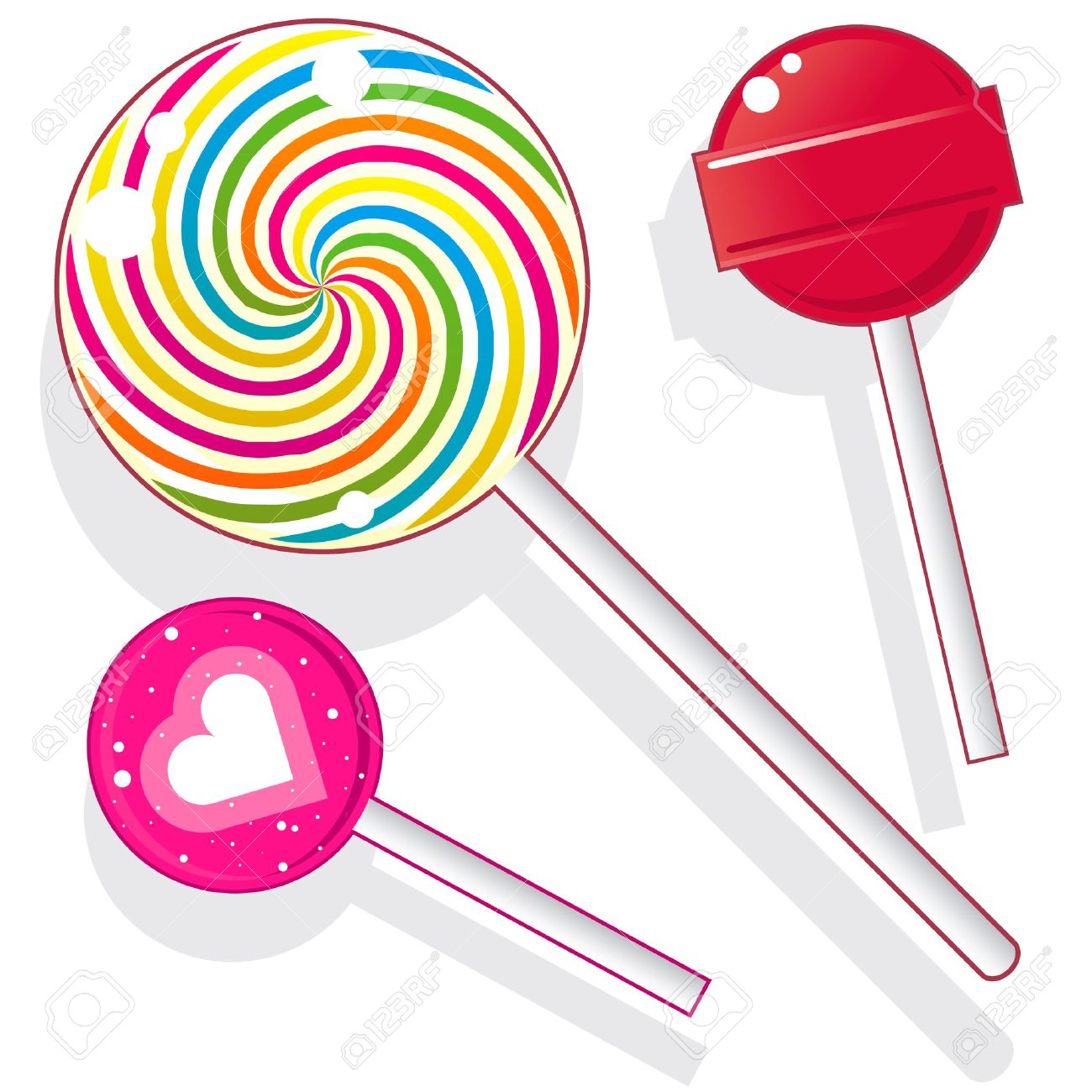 Lollipops and suckers. Vector candy set includes spherical lolly pops as well as round swirl pop. - 11575015