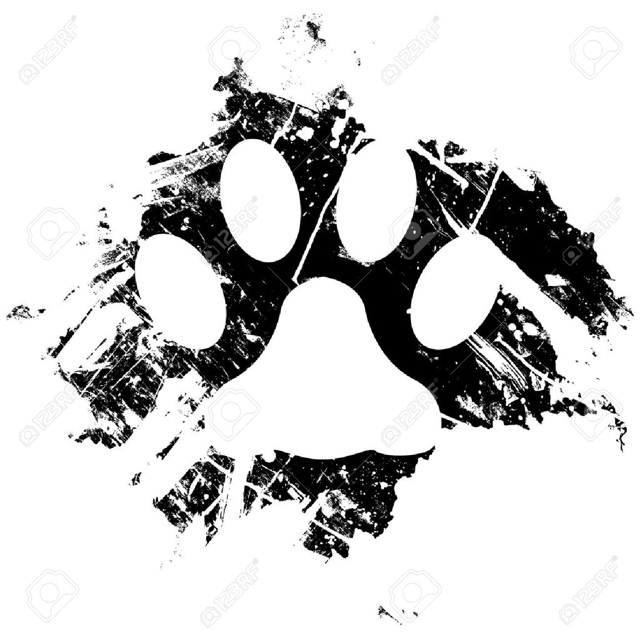 Grunge pet or cat paw print  Can be used as a background or as