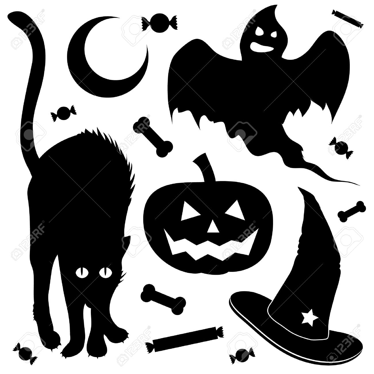 Halloween Design Elements Silhouette Set. Includes Black Cat ...