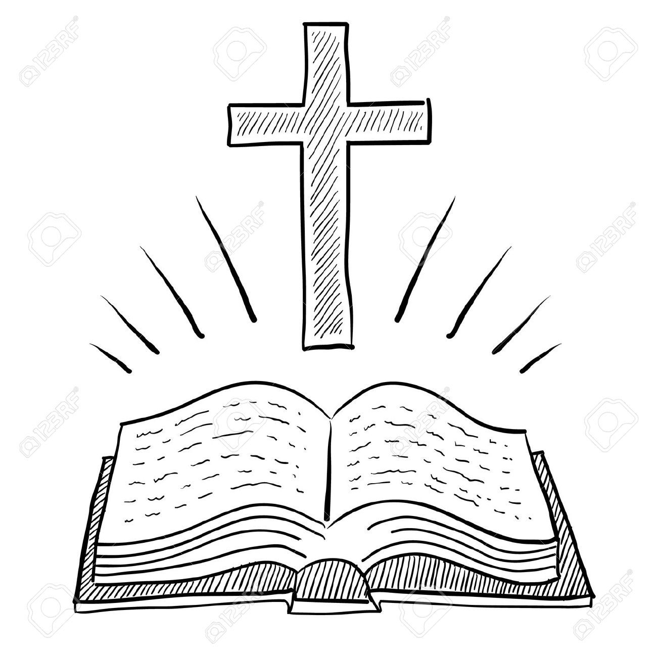 Doodle style bible or book with christian cross vector illustration Stock Illustration - 11575138