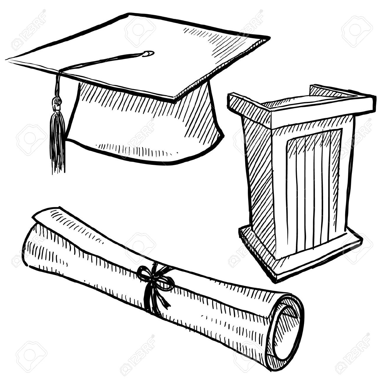 Coloring pages graduation - Doodle Style Graduation Or School Vector With Cap Podium And Diploma Scroll Stock Digital Colage Of Coloring Page