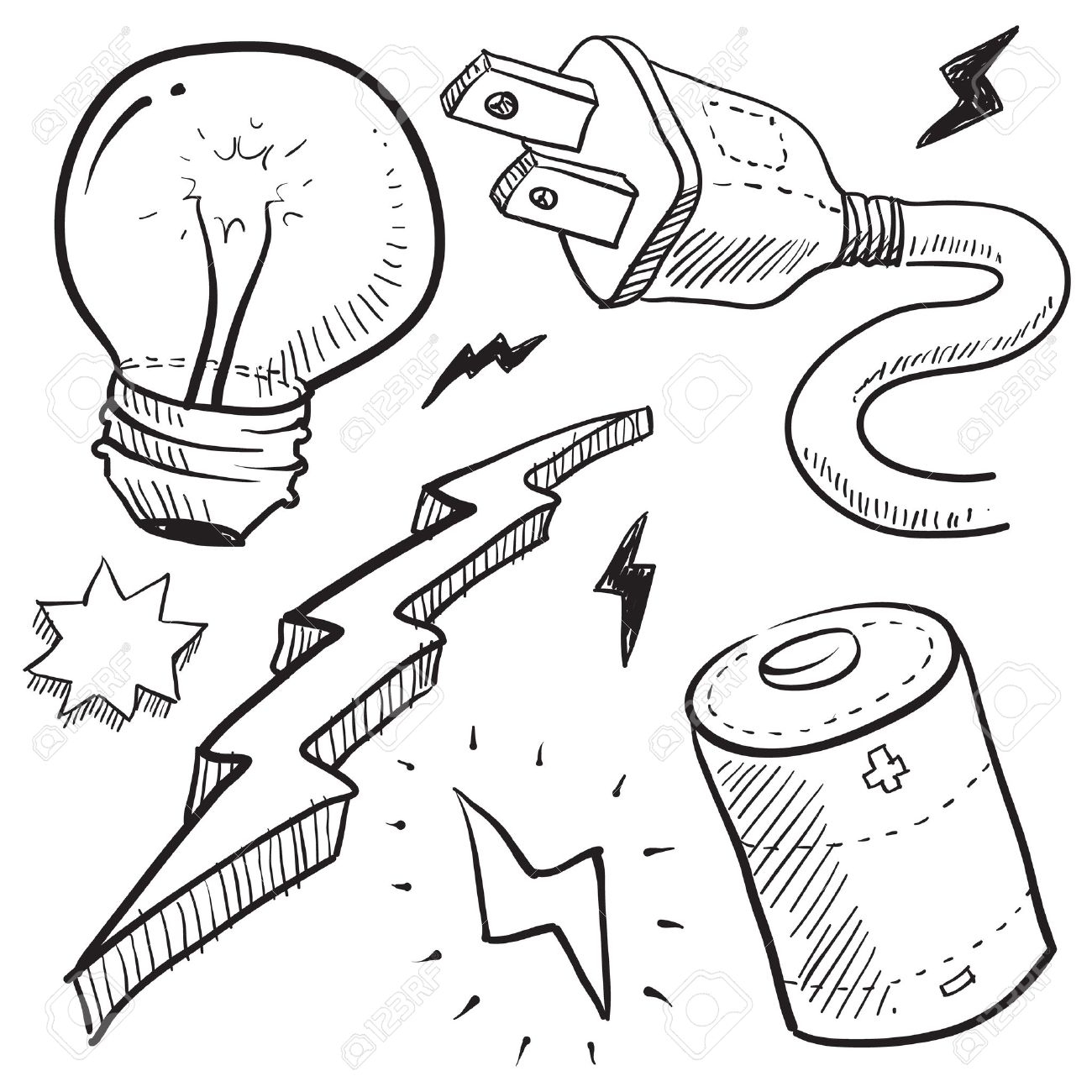 Power Plug Drawing Style Electricity or Power
