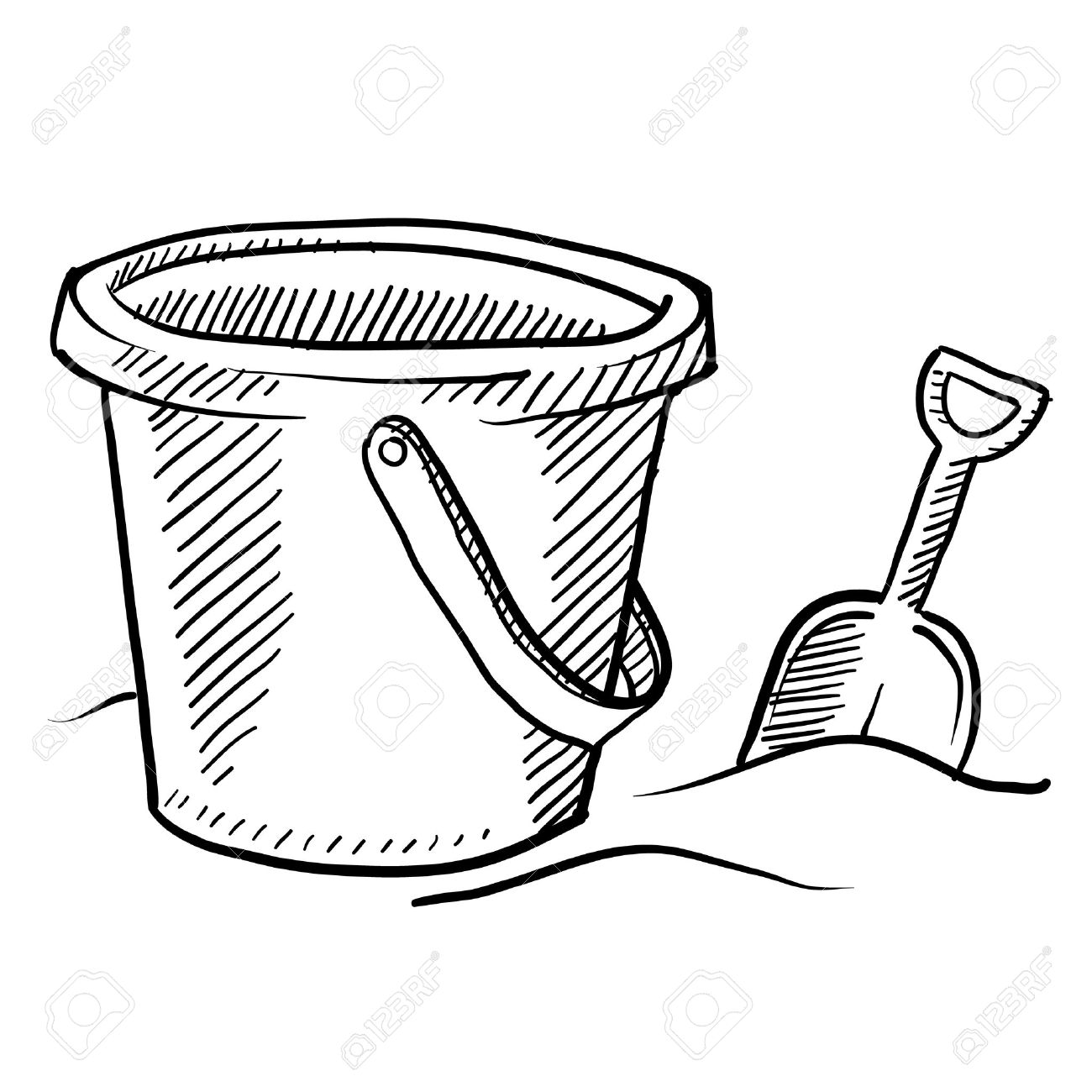 Doodle style children's beach sand castle bucket and shovel in vector format Stock Photo - 11575113
