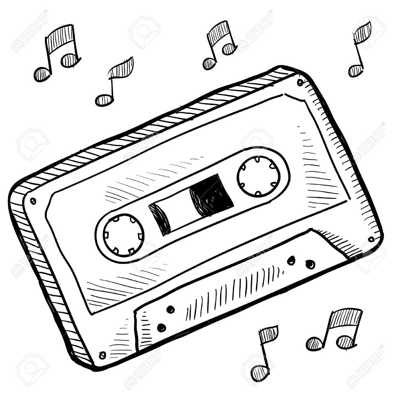 落書きスタイル カセット テープ ベクトル イラスト の写真素材画像