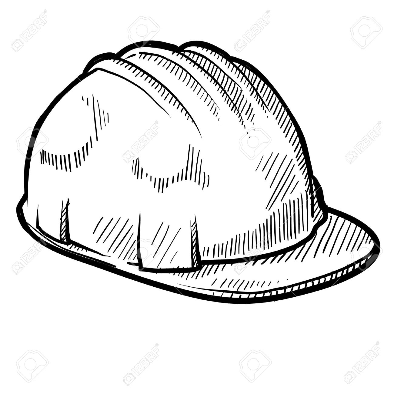 Doodle Style Construction Worker Safety Hardhat In Vector Format Stock Photo