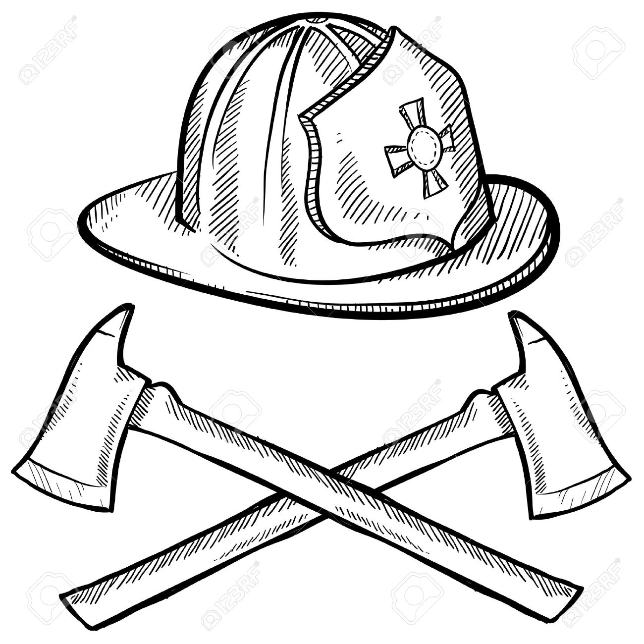 Doodle style firefighter's helmet and axes in vector format Stock Photo - 11575091