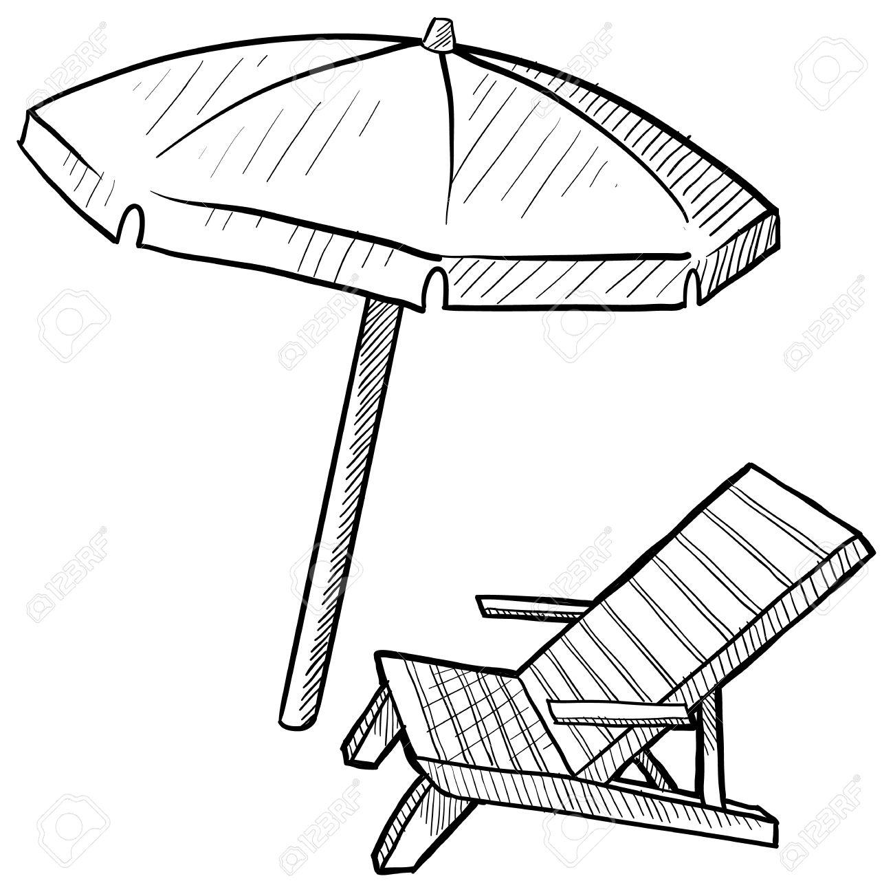 Beach chair and umbrella black and white - Beach Chair Doodle Style Beach Chair And Umbrella