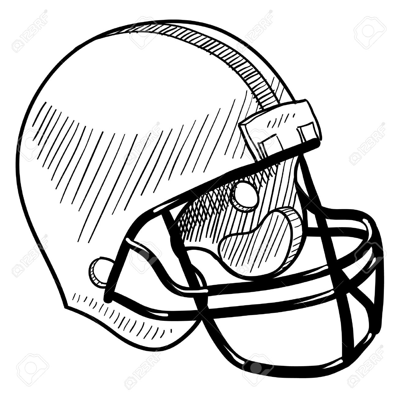 doodle style football helmet sports equipment royalty free cliparts rh 123rf com