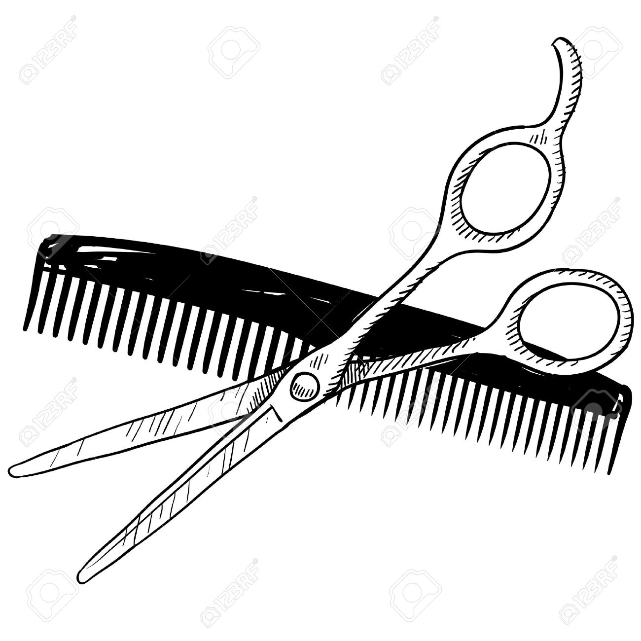 doodle style hair stylist or barber scissors and comb illustration