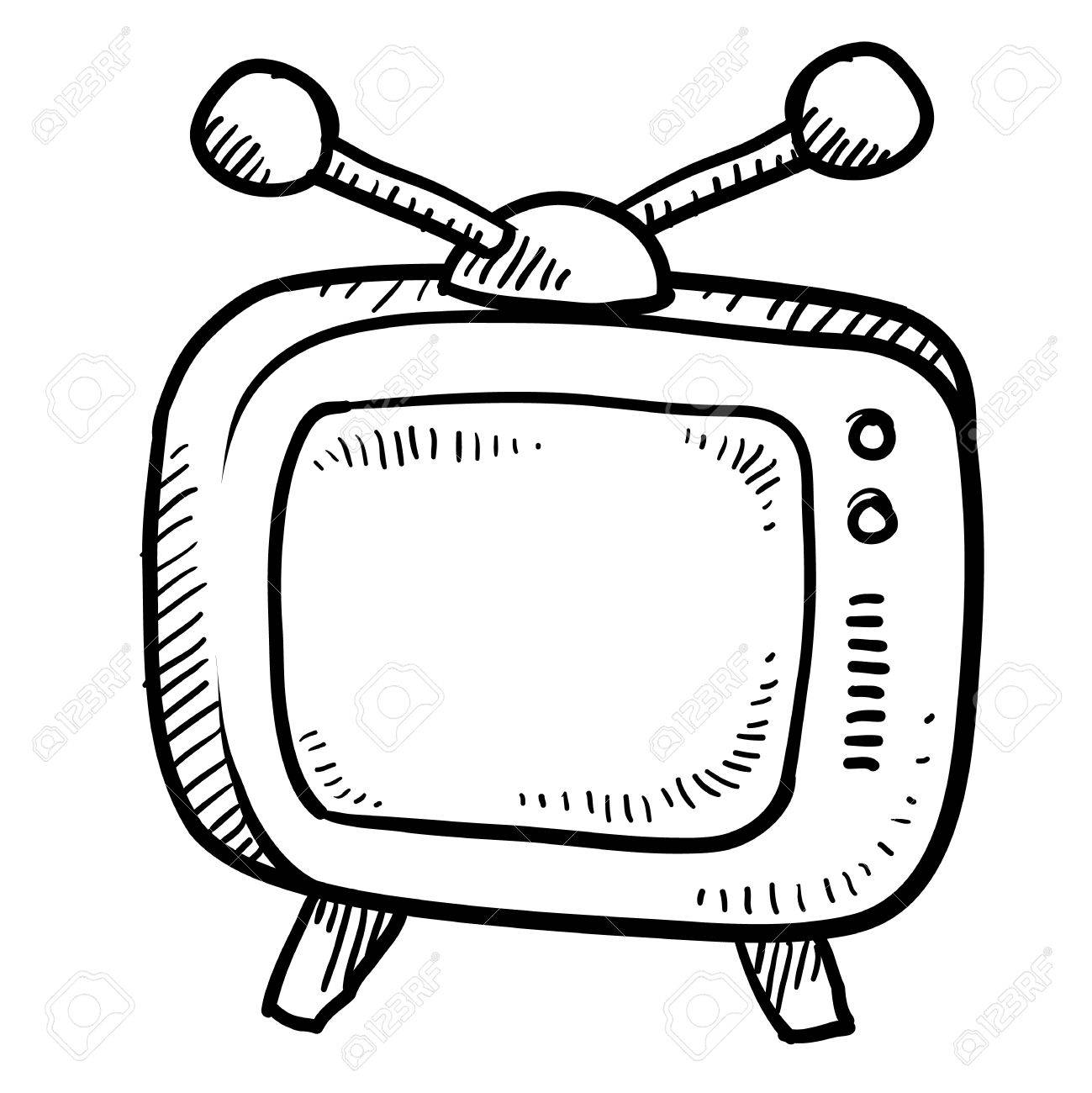 Doodle style retro television illustration or media icon suitable for web, print, or advertising use. Stock Illustration - 11790090