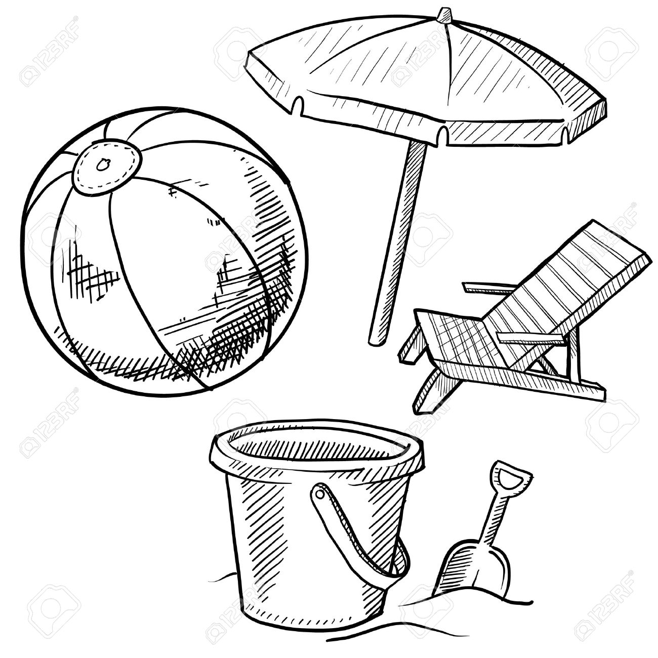 Doodle Style Beach Vacation Items Illustration In Set Includes Chair Ball And