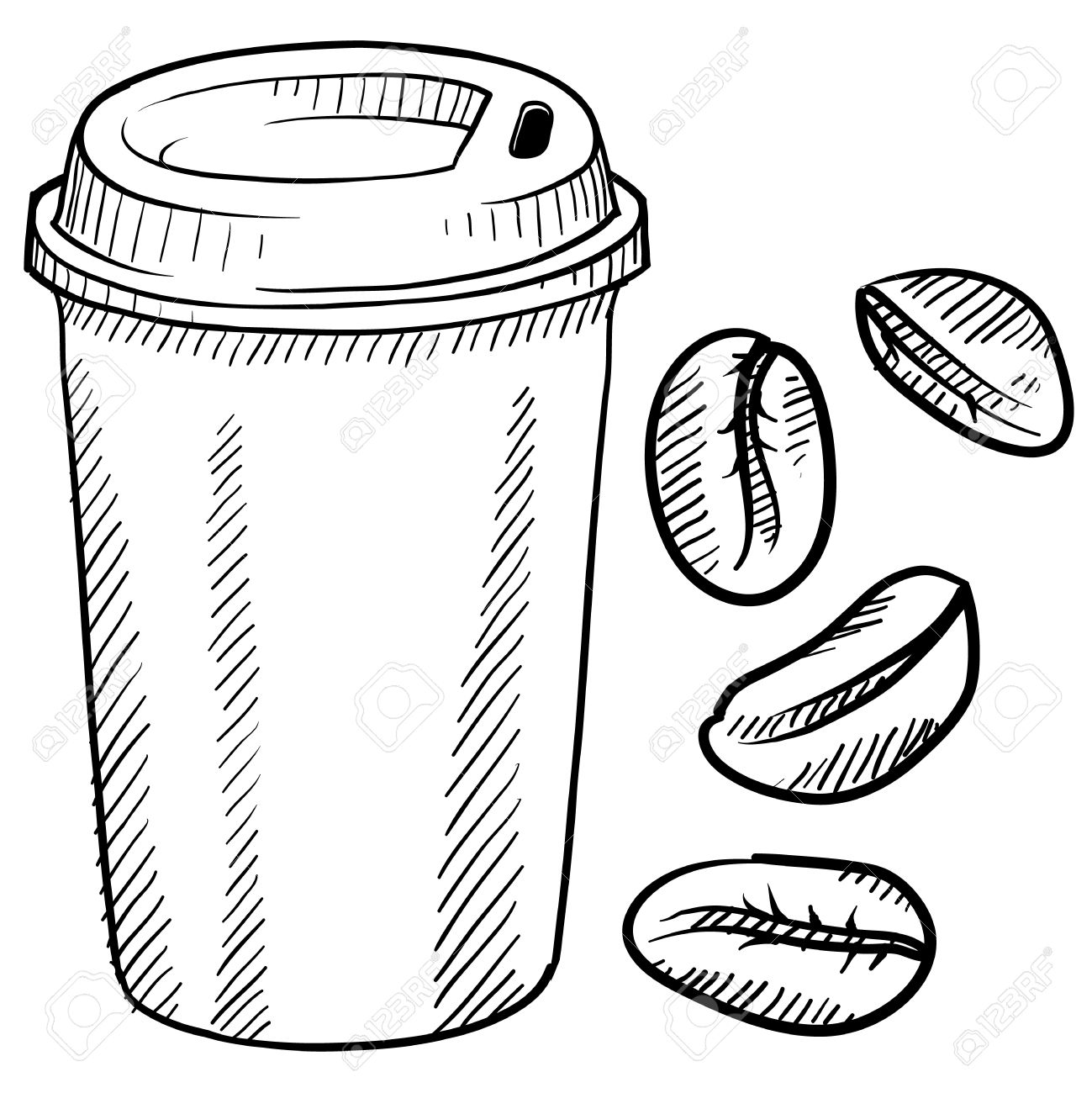 Doodle Style Coffee Bean And Travel Mug Royalty Free Cliparts Vectors And Stock Illustration Image 13258669