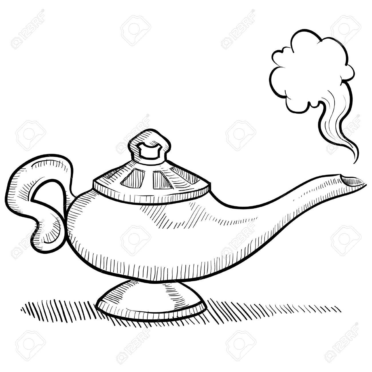 Illustration Lampe De Style Doodle Génie D Aladdin S