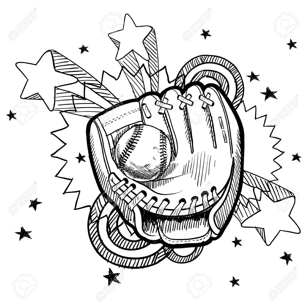 Doodle style baseball glove illustration with retro 1970s pop background Stock Vector - 13258713