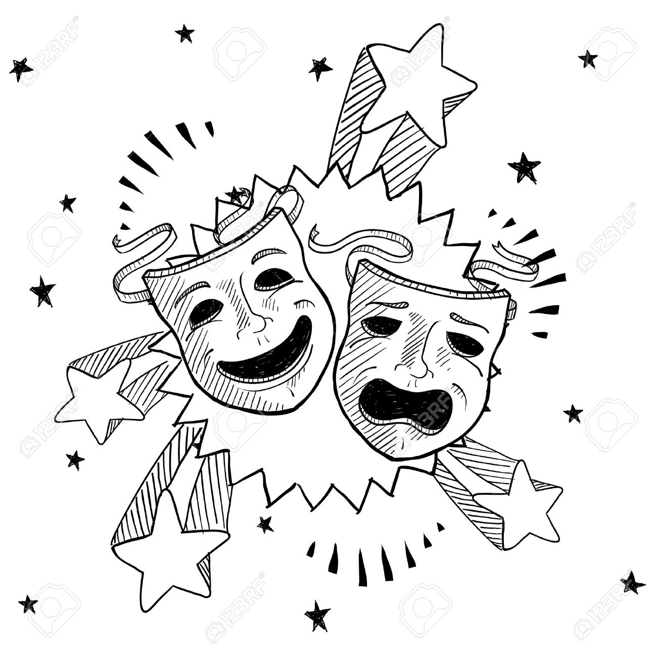 Doodle style theater or drama masks illustration with retro 1970s pop background - 13258691