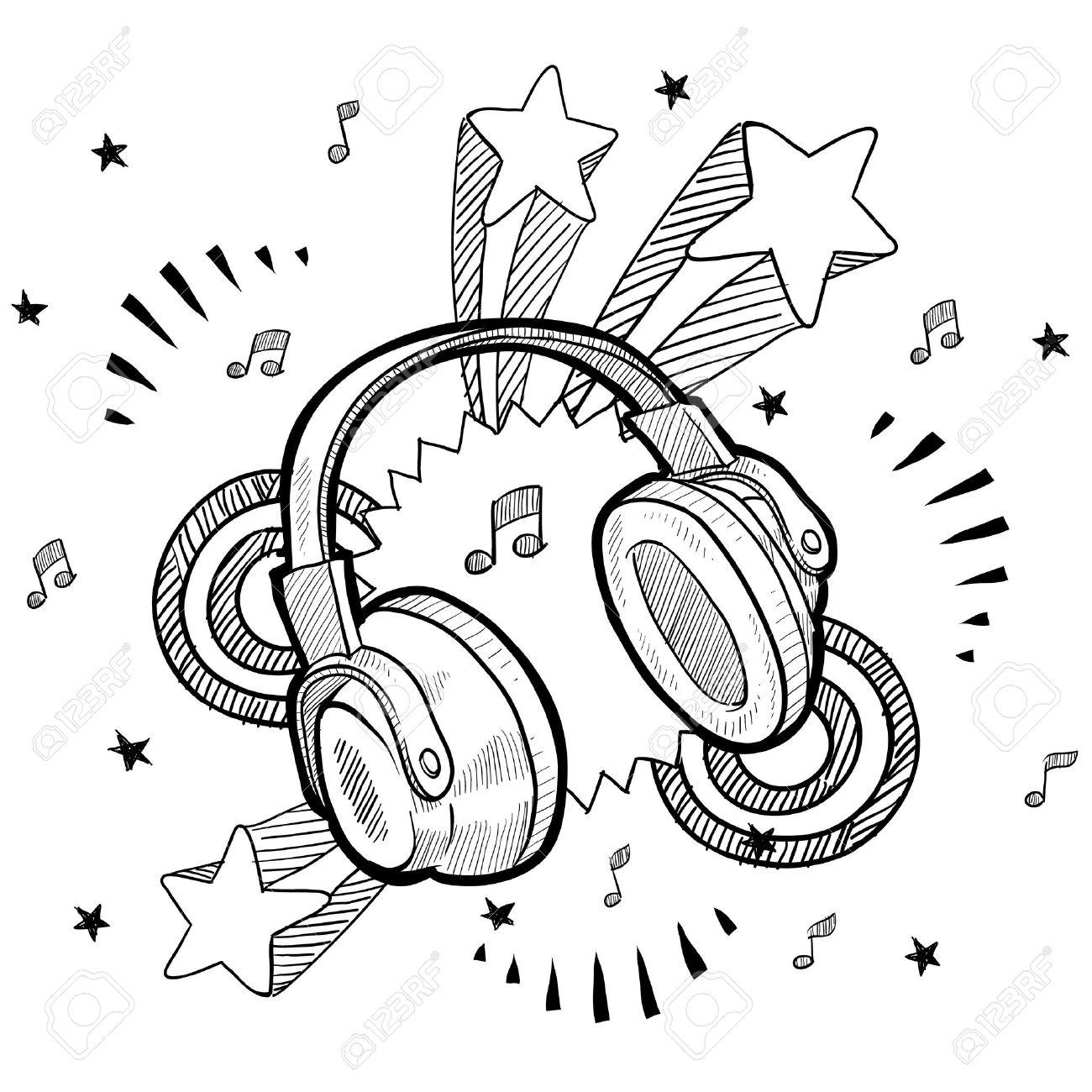 Dessin Casque Audio doodle audio de style casque illustration avec le fond de pop rétro