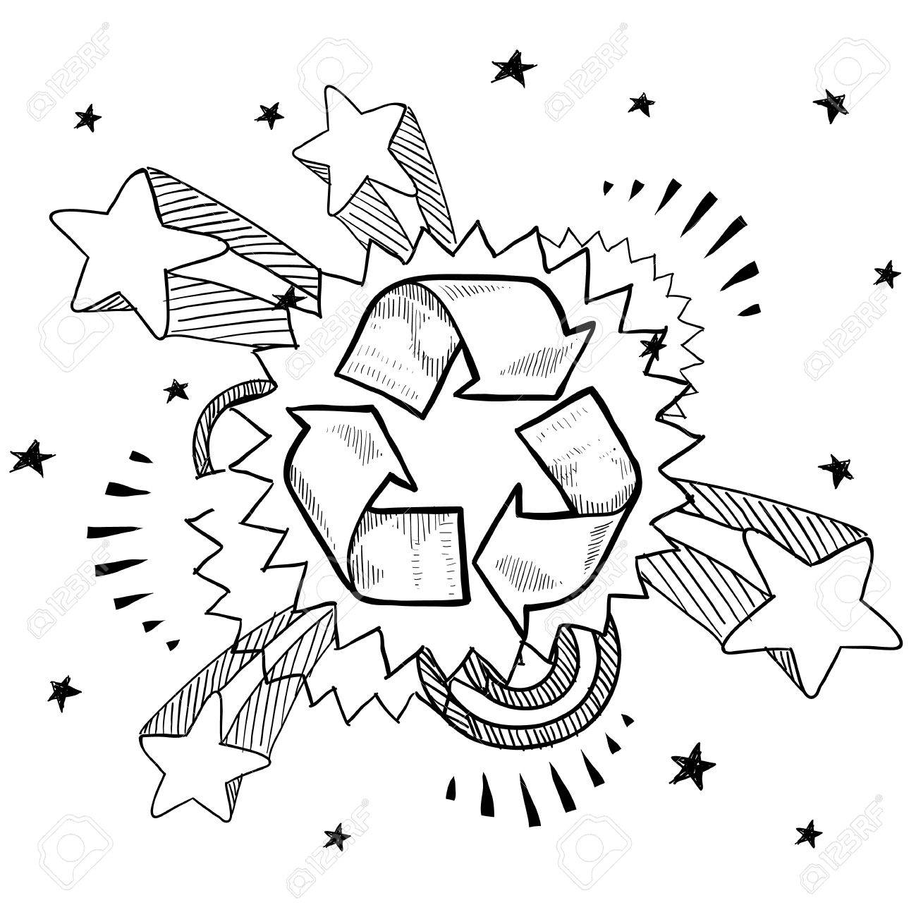 Doodle style recycle symbol illustration with retro 1970s pop background Stock Vector - 13258731