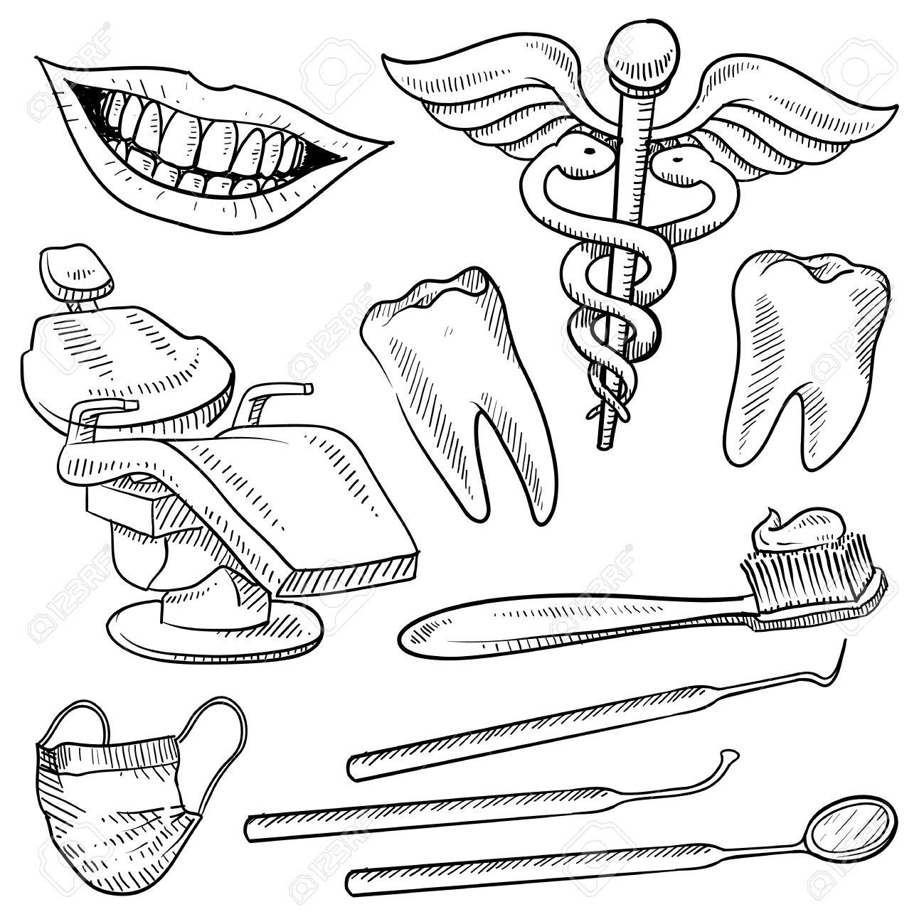 Doodle Croquis De Style équipements Dentiste Set Format Vectoriel Comprend Fauteuil  Dentaire, Des Pioches, Des Miroirs, Caducée, Brosse à Dents, Sourire, Et  Les Dents Banque D'Images Et Photos Libres De Droits. Image