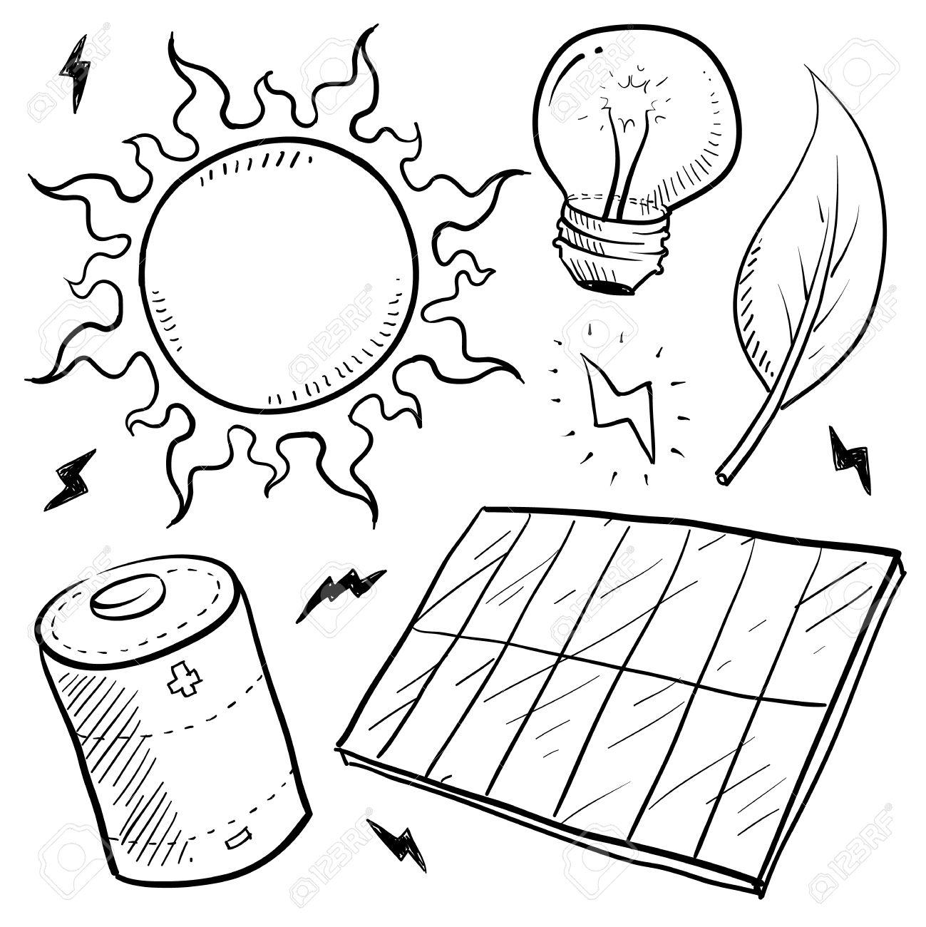Doodle style renewable solar energy equipment sketch in vector