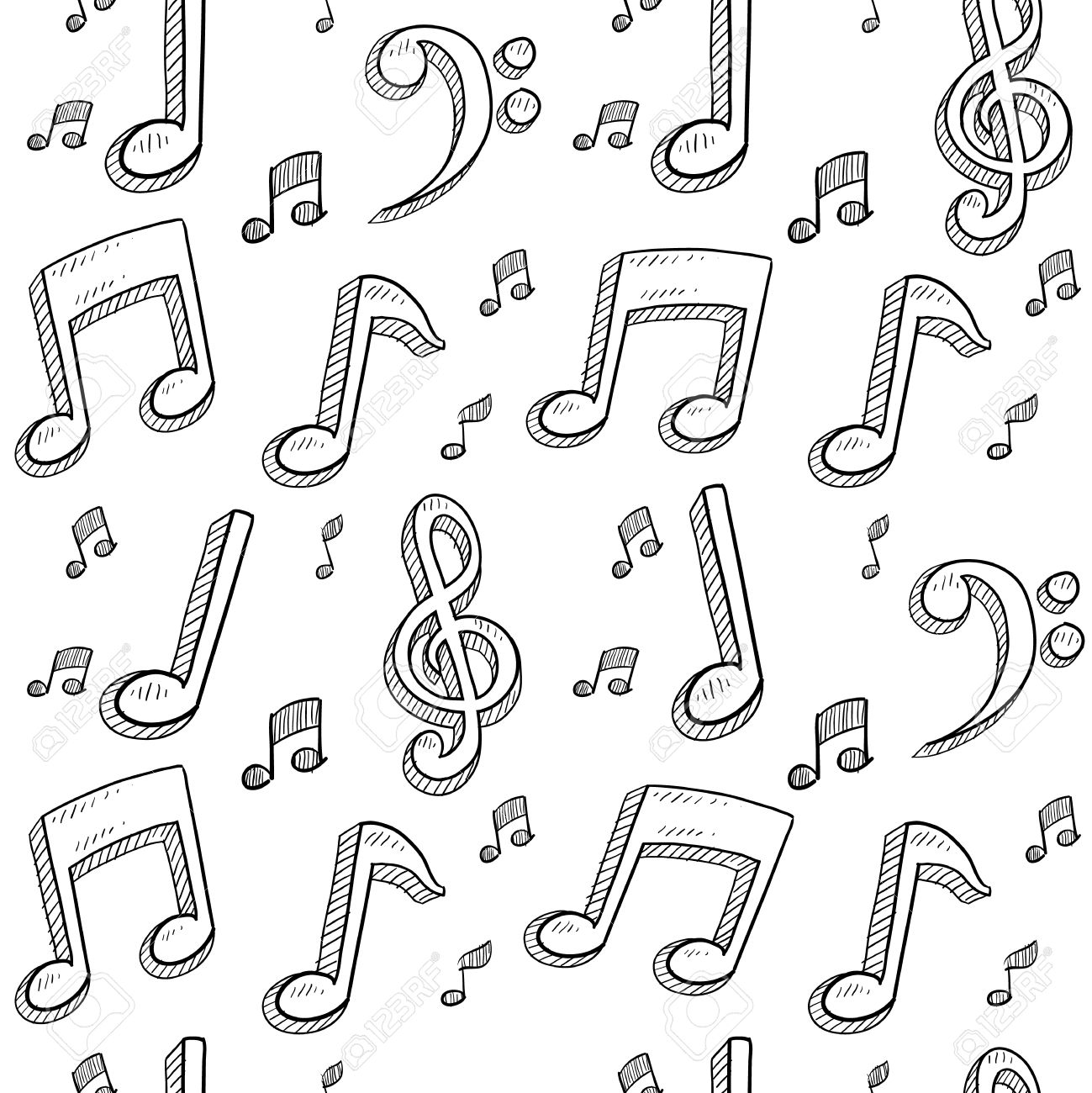 Doodle style musical notes seamless background pattern sketch in vector format Stock Photo - 14419982