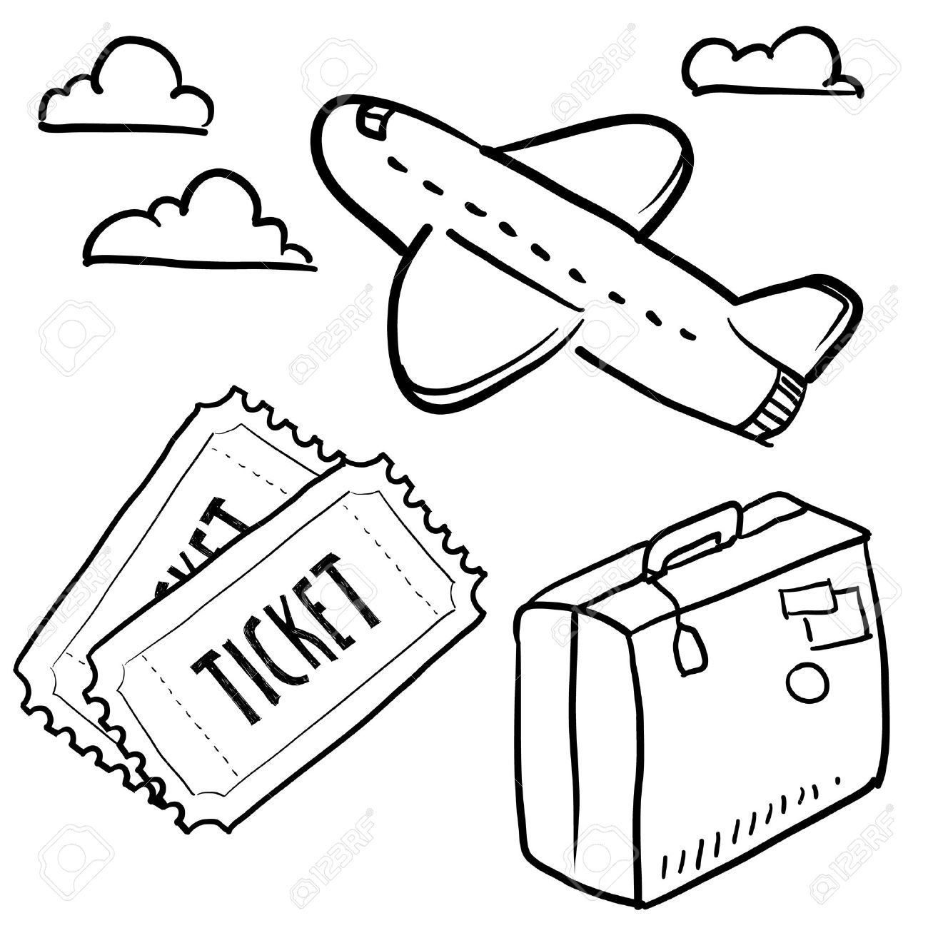 Doodle Style Air Travel Sketch In Vector Format Set Includes Plane Tickets Luggage