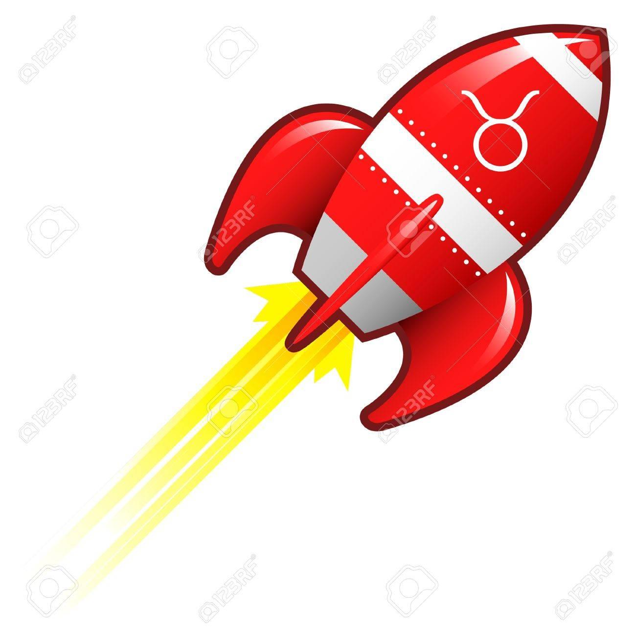 Taurus zodiac astrology sign on on red retro rocket ship illustration Stock Illustration - 14419902
