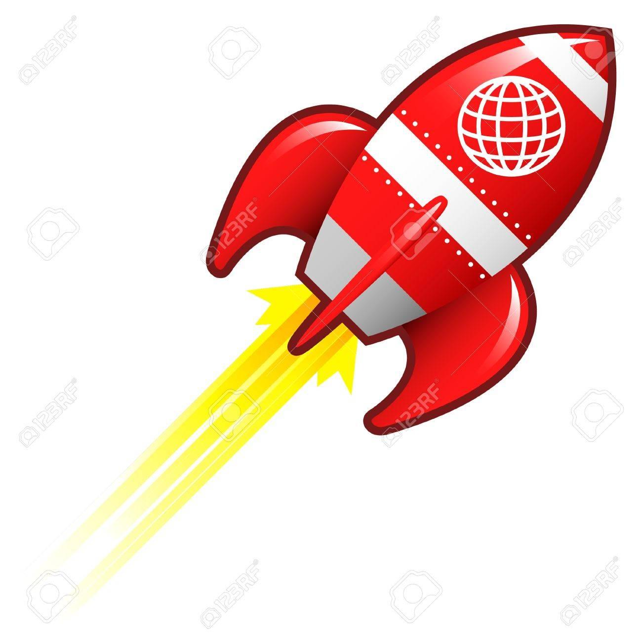 Globe icon on red retro rocket ship illustration Stock Illustration - 14417353
