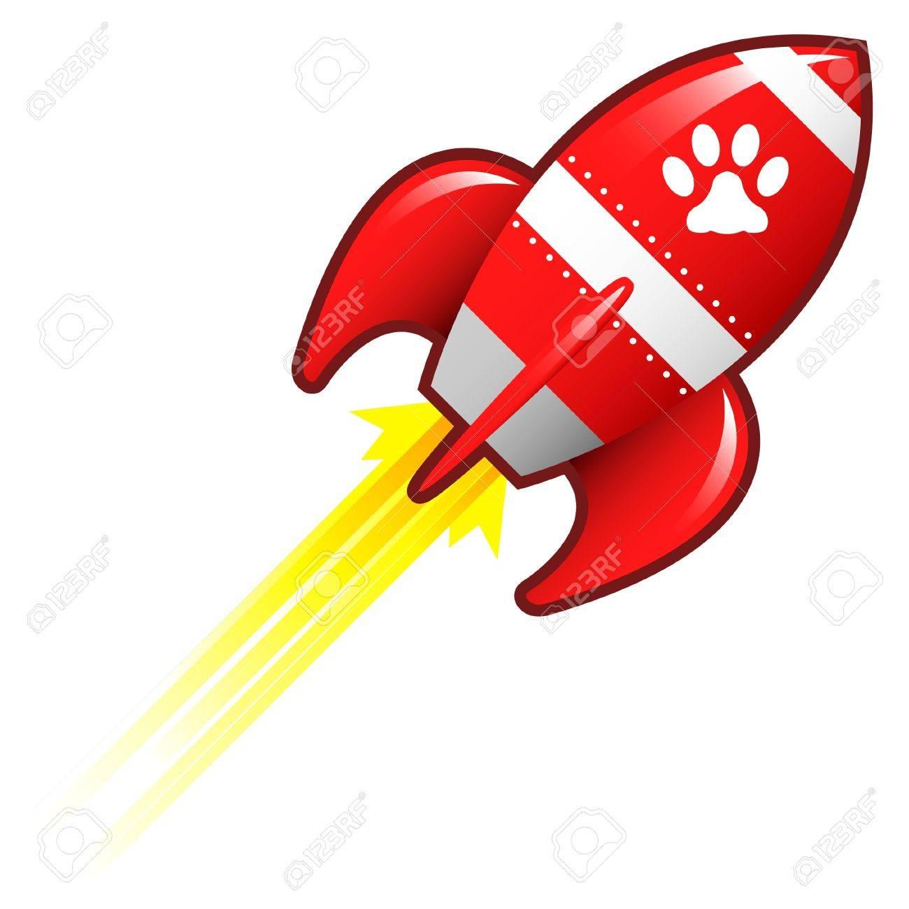 Pet paw print icon on red retro rocket ship illustration Stock Illustration - 14417330