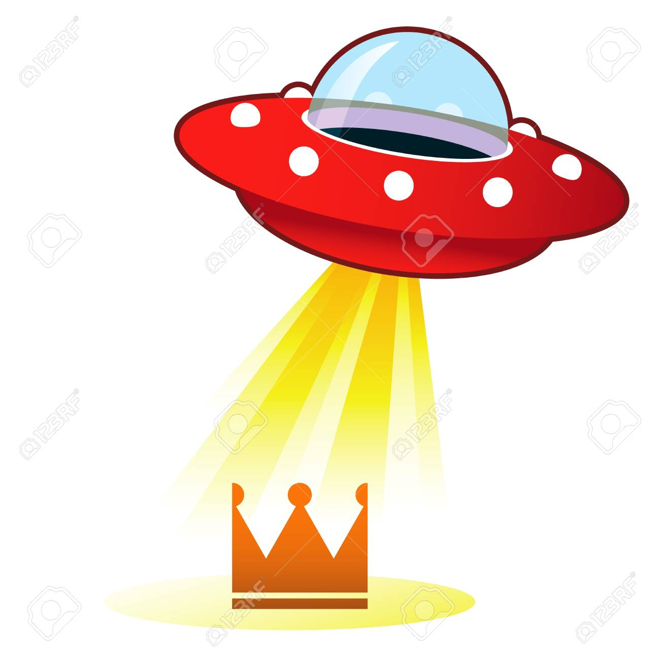 Retro flying saucer UFO with light beam on crown of success