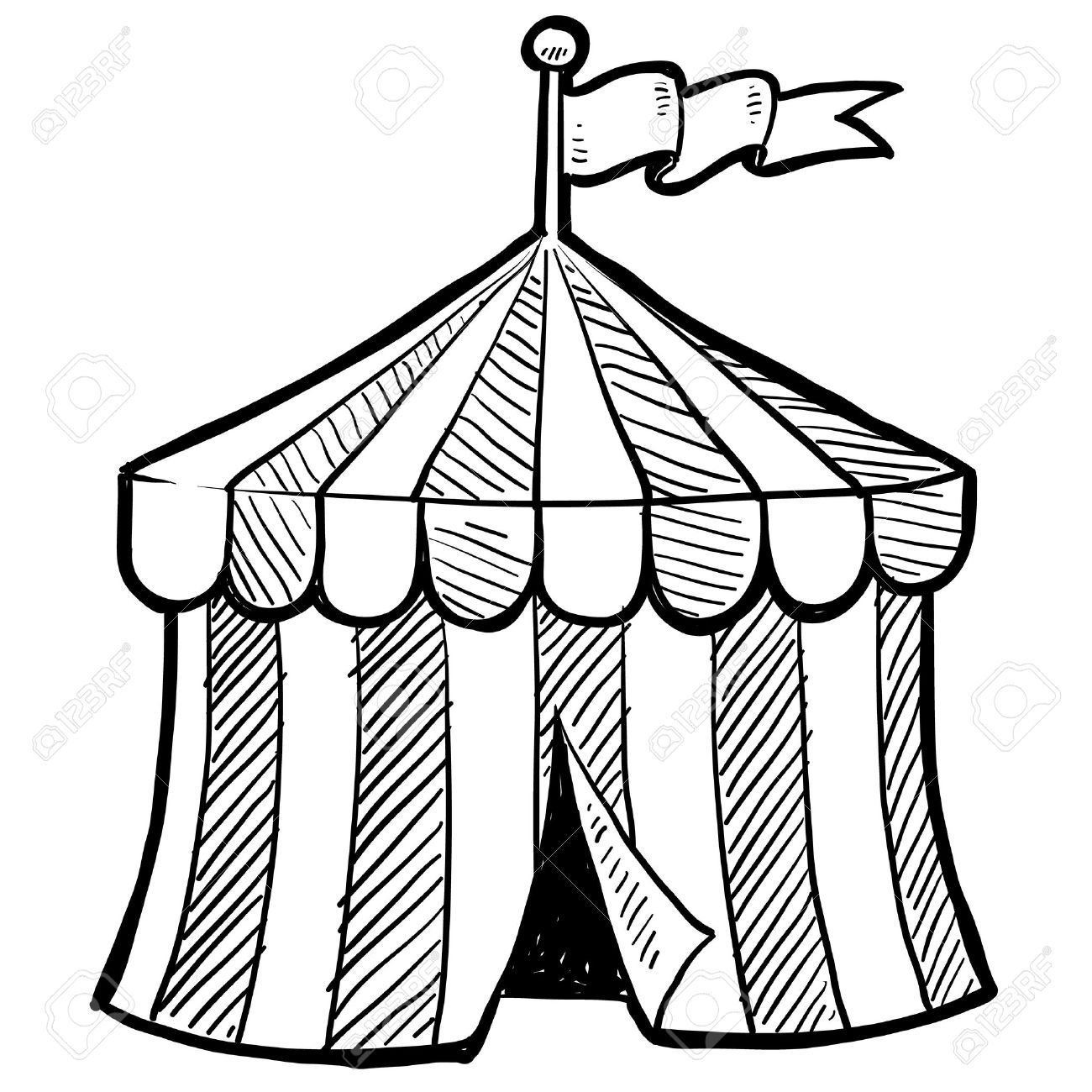 tent clipart black and white. doodle style circus tent in vector format stock 14460764 clipart black and white