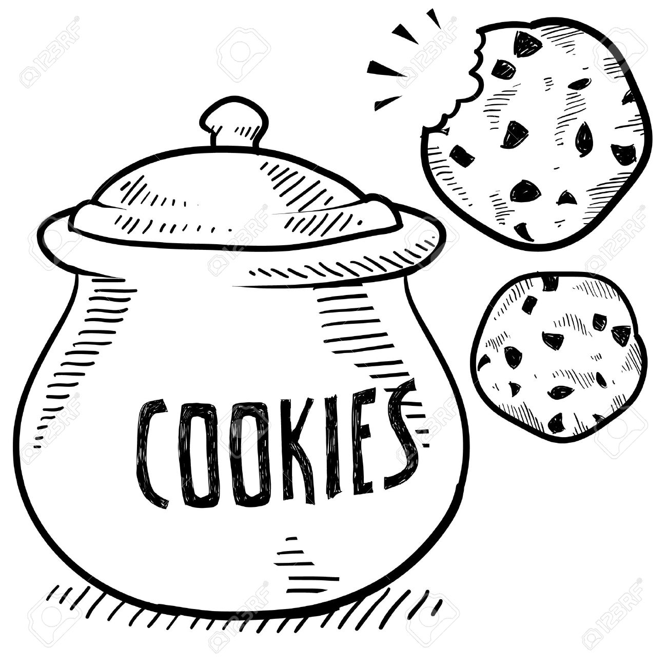 Doodle style cookie and cookie jar illustration in vector format Stock Vector - 14460785